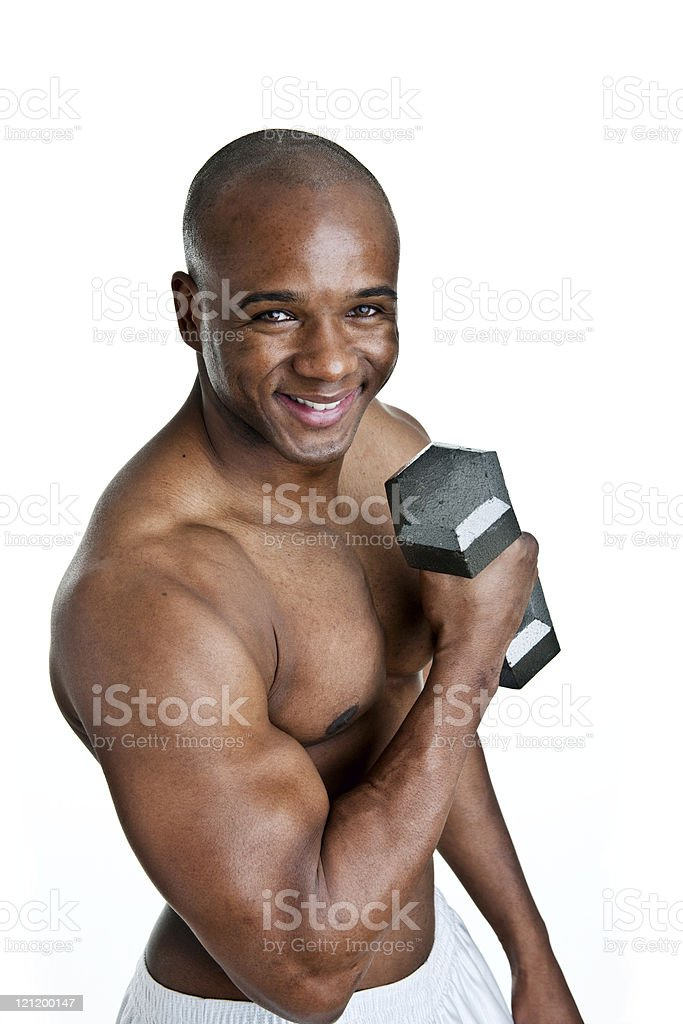 Male weight lifter with happy expression royalty-free stock photo