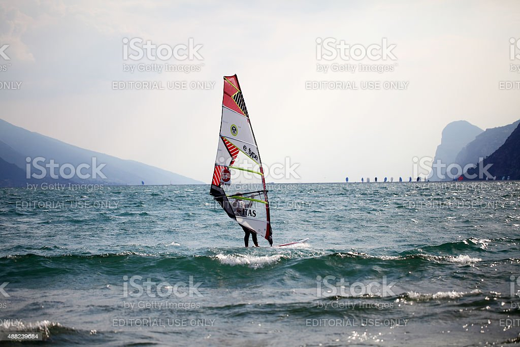 male windsurfer on Lake Garda ,italy stock photo