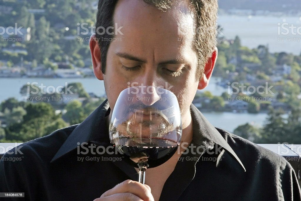 Male Wine Connoisseur Outdoors royalty-free stock photo