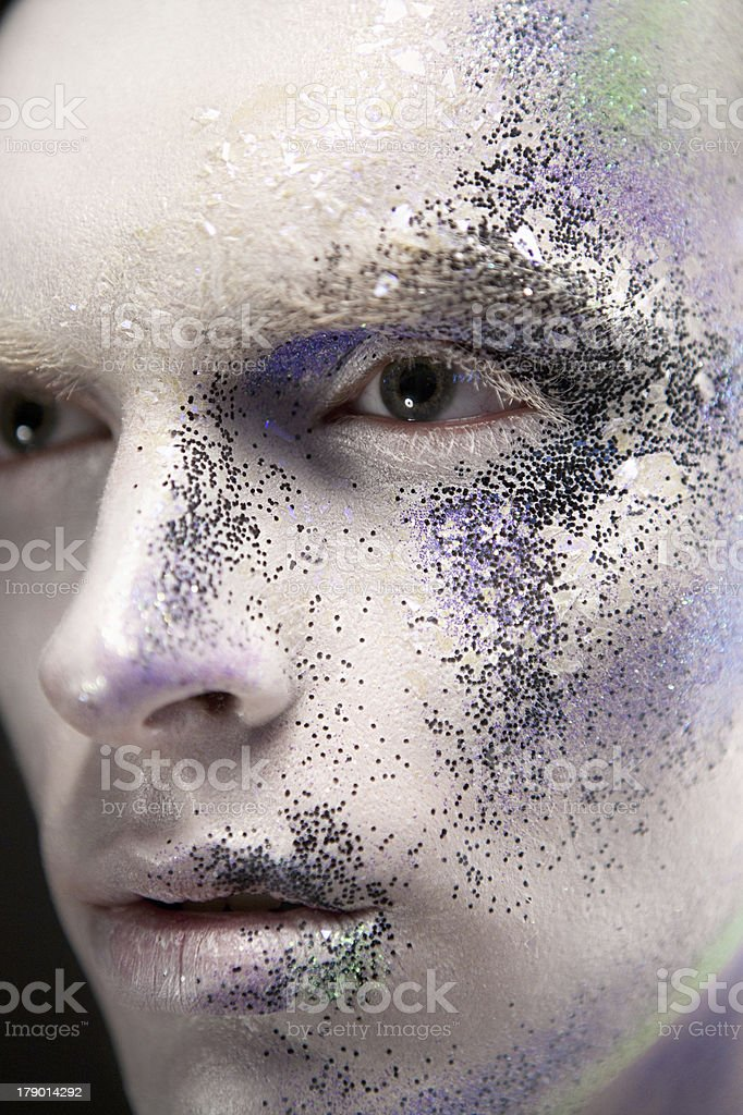 Male with creative make-up royalty-free stock photo