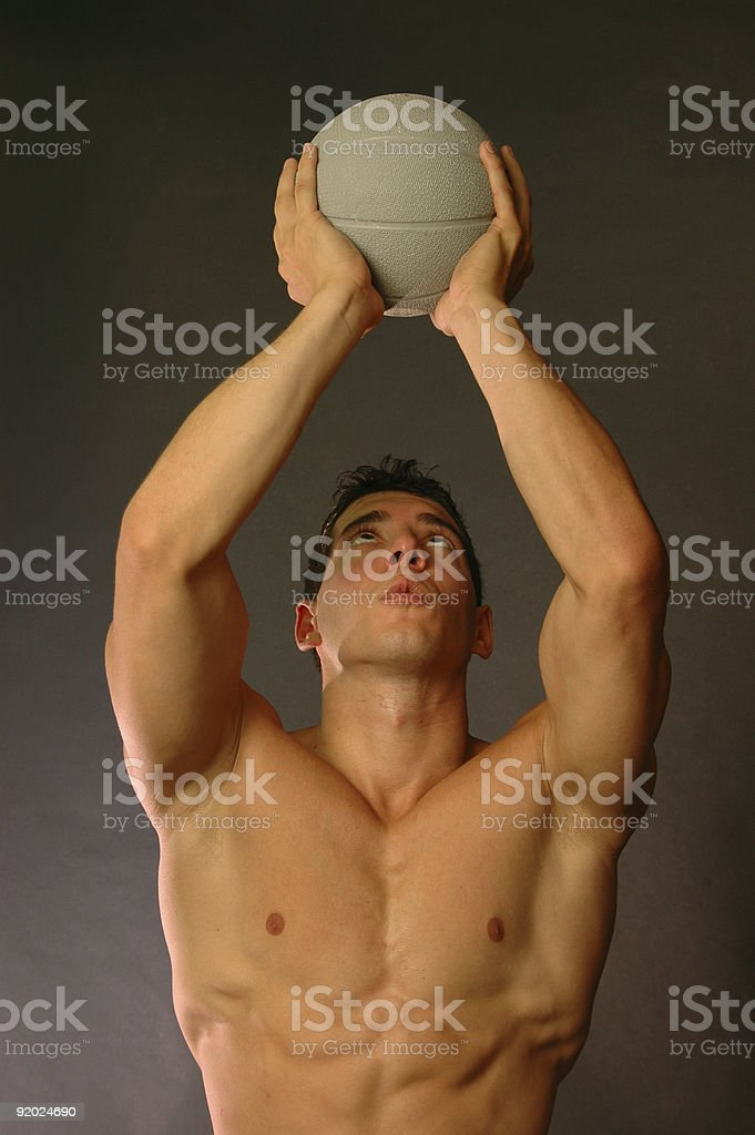 male with workout ball royalty-free stock photo