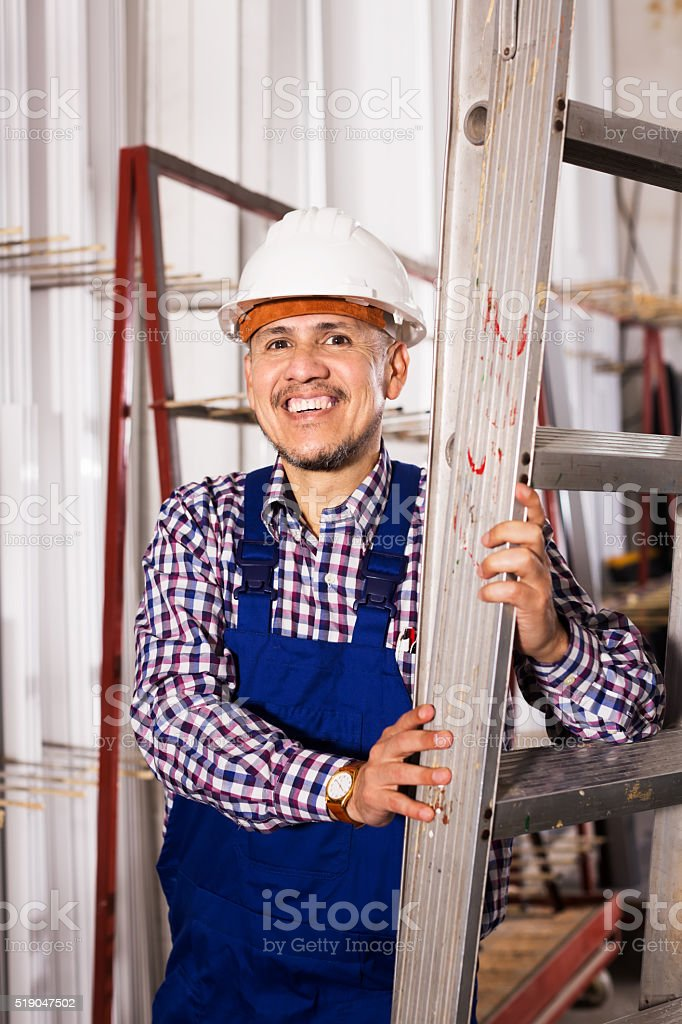 Male working at construction site stock photo