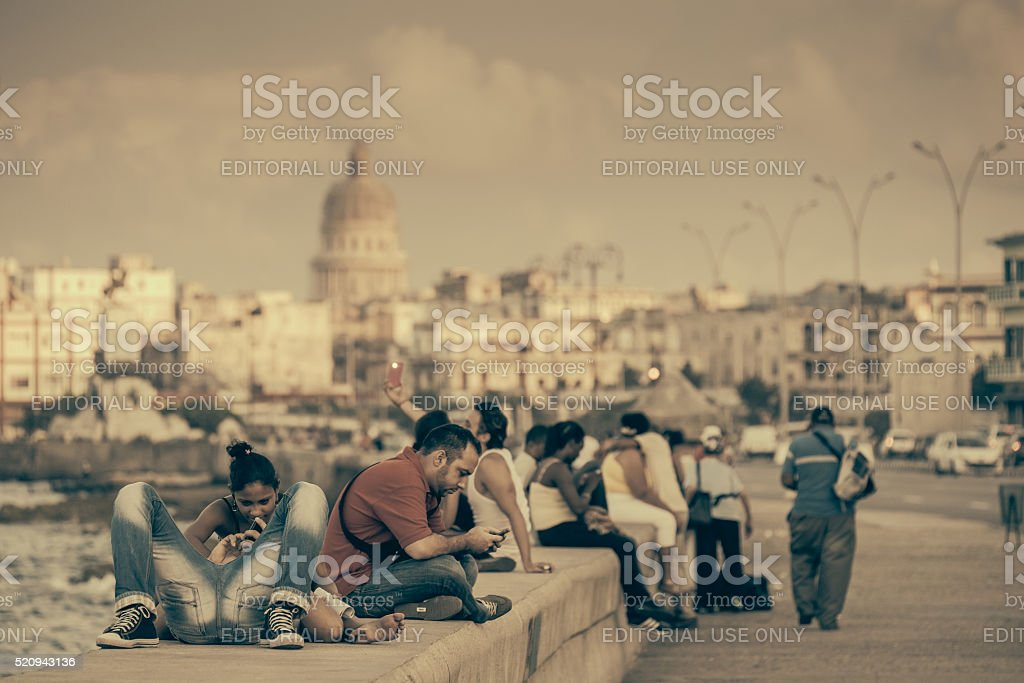 Malecon in the Sunset stock photo