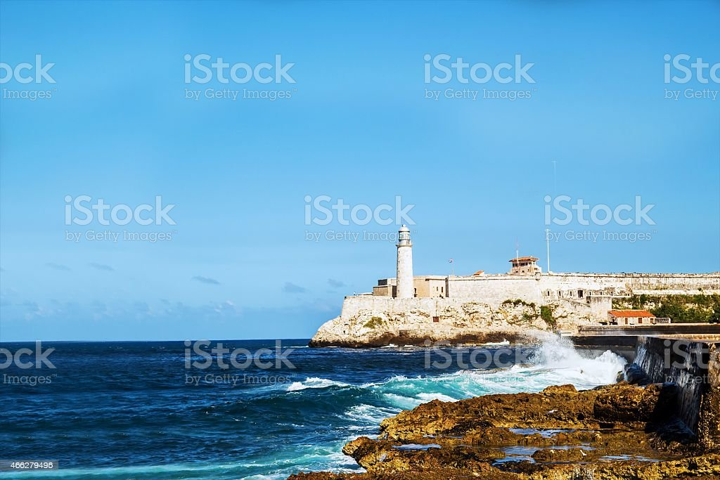 Malecon quay and lighthouse stock photo