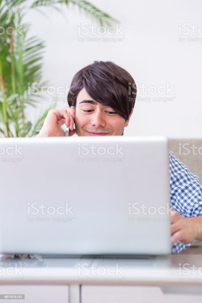 Males call while your PC stock photo