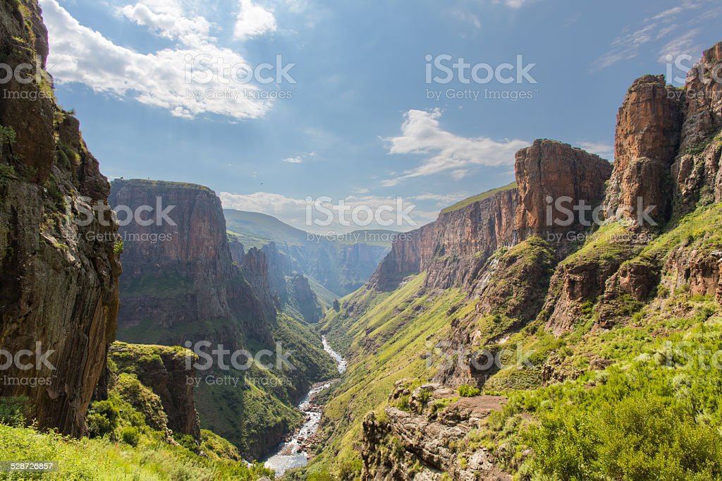 Maletsunyane River valley stock photo