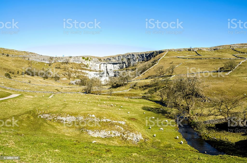 Malham Beck and Cove Yorkshire England stock photo