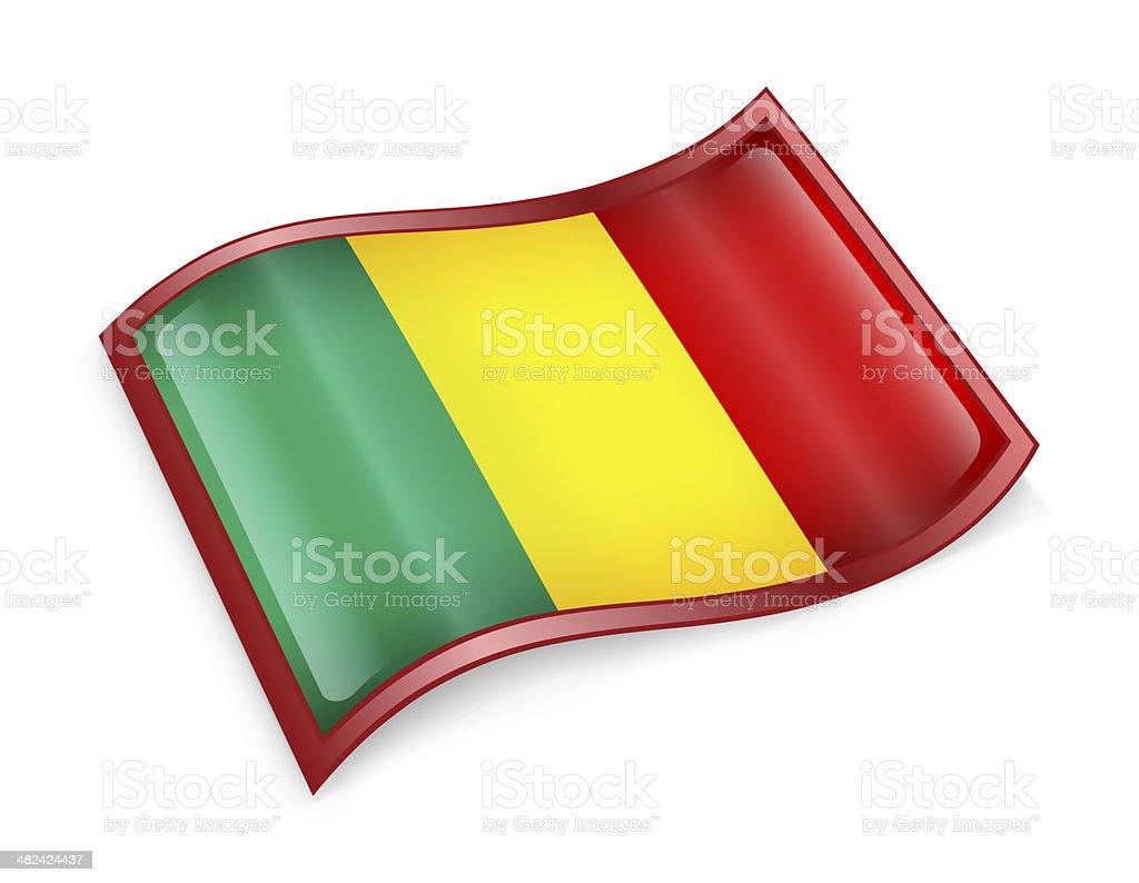 Mali Flag icon, isolated on white background. stock photo