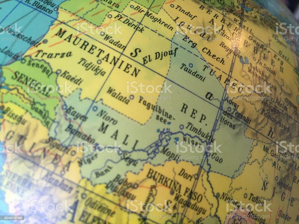 Mali, Landkarte - Alter Globus / Weltkarte stock photo