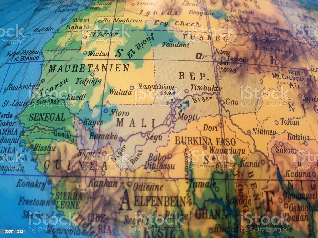 Mali Landkarte - Alter Globus / Weltkarte stock photo