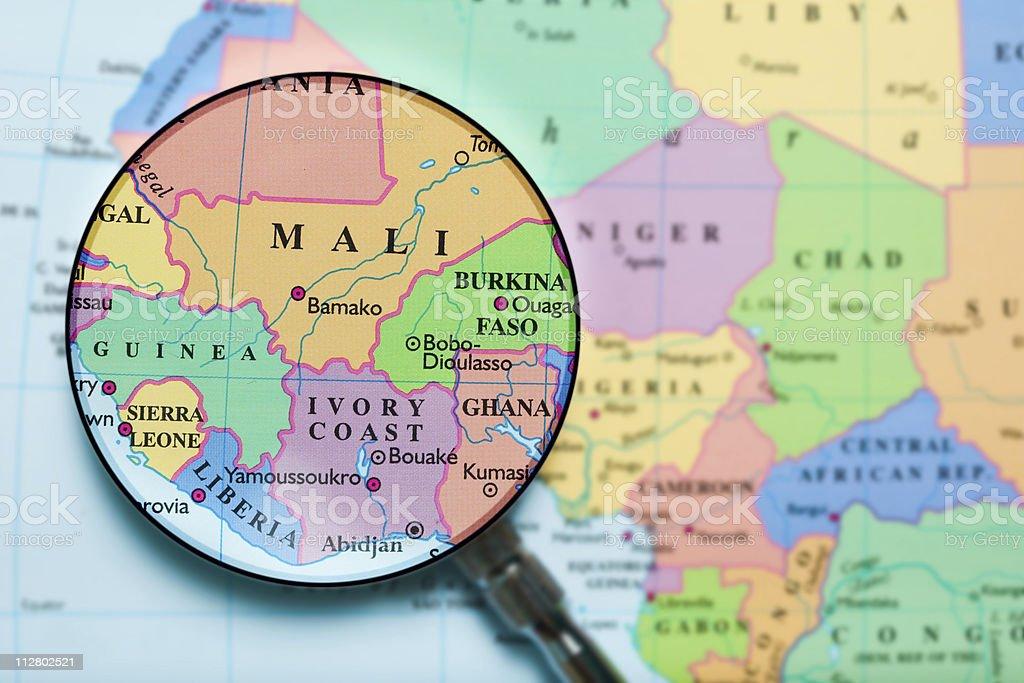 Mali under loupe stock photo