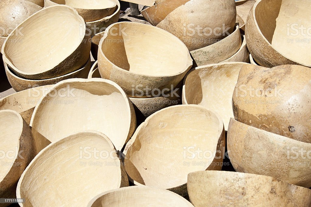 Malian traditional containers. stock photo