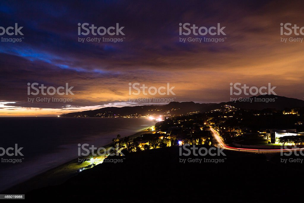 Malibu, Cloudy At Dusk Looking Northwest From Point Dume royalty-free stock photo