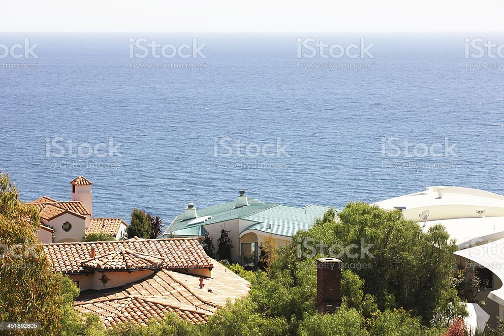 Malibu Mansion Rooftops Ocean Vista stock photo