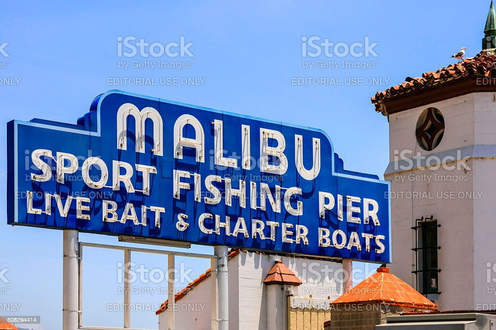 Malibu Sport fishing pier sign in California stock photo