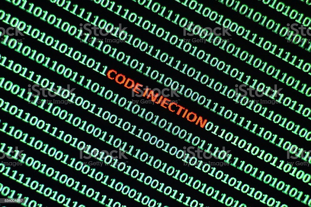 Malicious Internet Code Injection stock photo