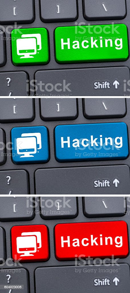 Malicious protection with hacking button stock photo
