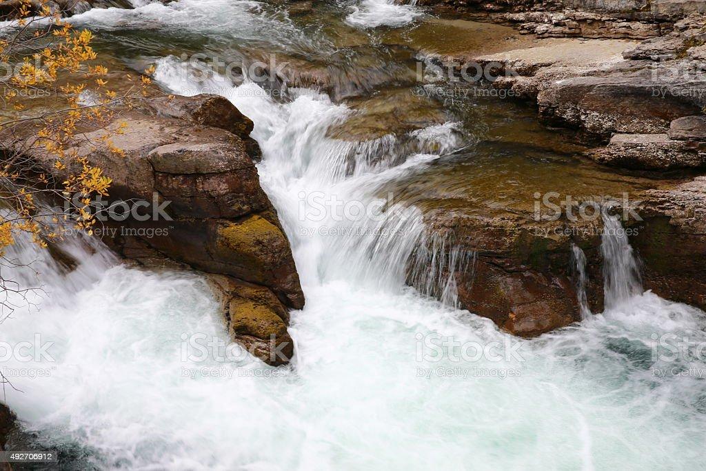 Maligne Canyon waterfall in Jasper stock photo