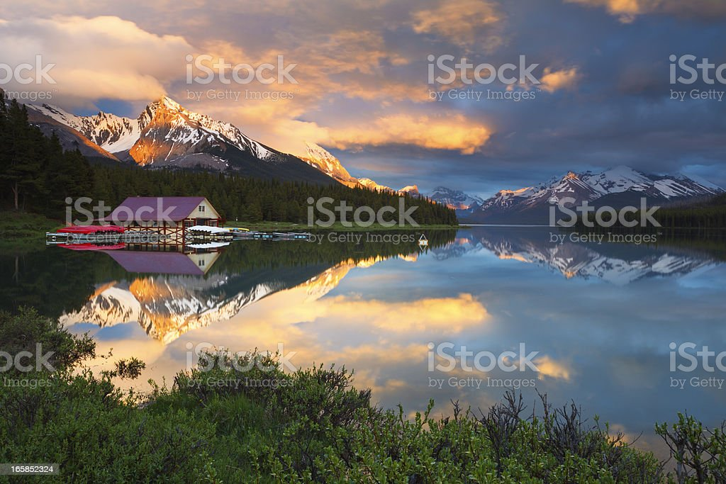 Maligne Lake Fire and Ice stock photo