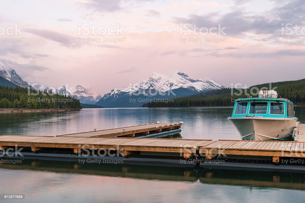 Maligne lake in the Rockies stock photo