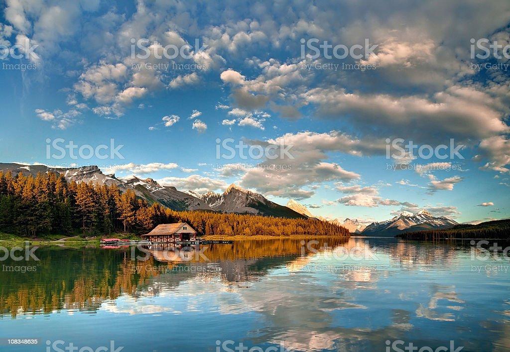 Maligne Lake Sunset royalty-free stock photo