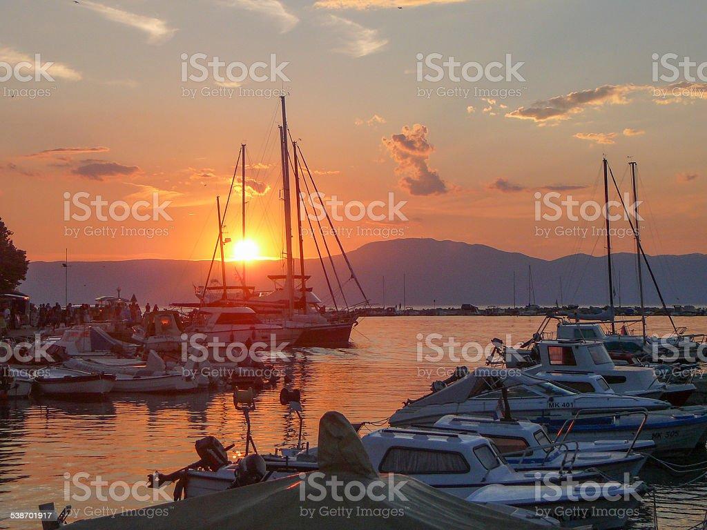 Malinska sunset stock photo
