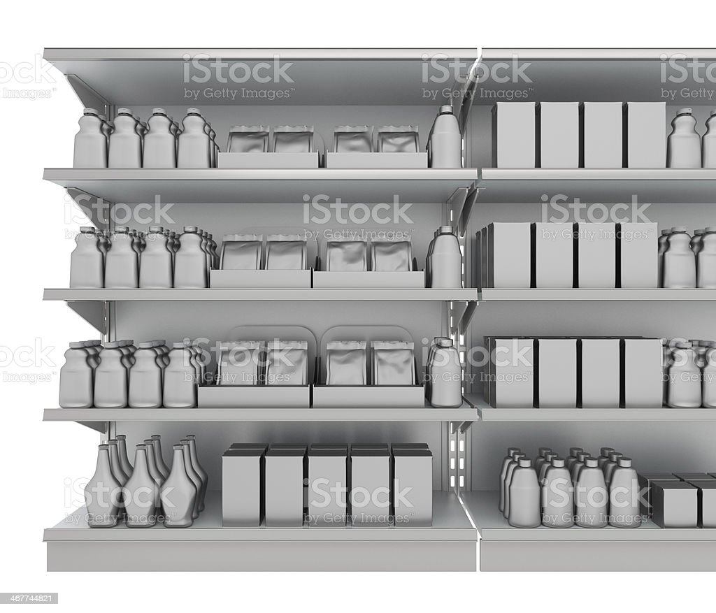 mall products on shelves stock photo
