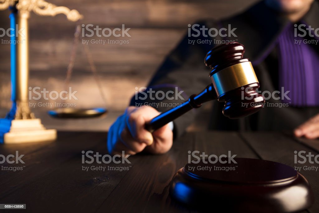 Mallet of the judge. Law concept stock photo