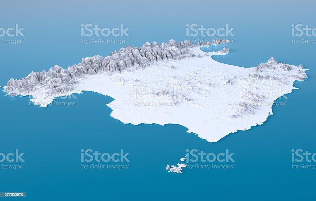 Mallorca Island Topographic Map 3D Landscape View White Color stock photo