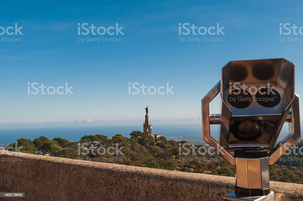 Mallorca view to Christkoenigmonument stock photo