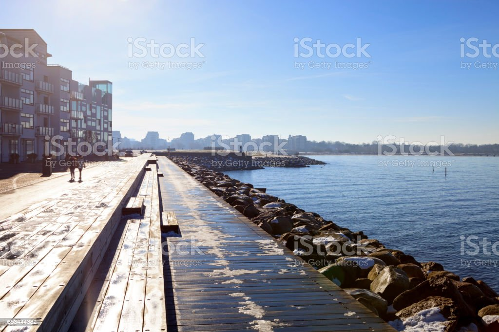 Malmo city coast panorama with urban accents stock photo