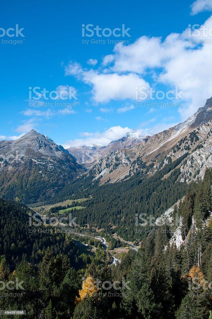 Maloja Pass near St. Moritz, Switzerland stock photo