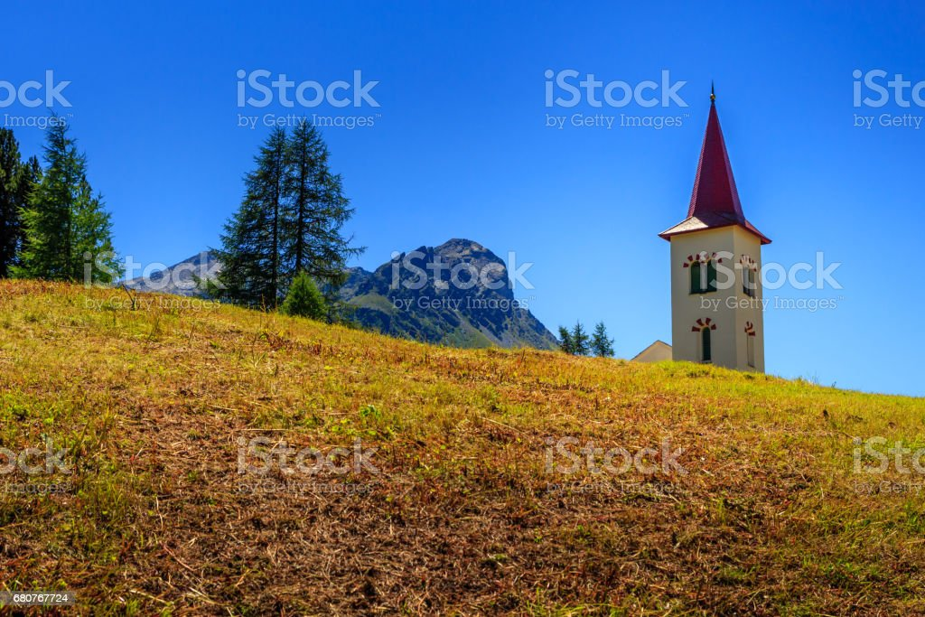 Maloya churchtower in summer stock photo