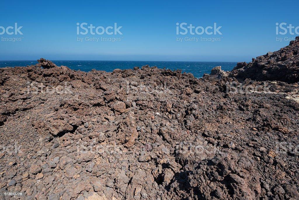 Malpais de Guimar, badlands volcanic landscape in Tenerife stock photo