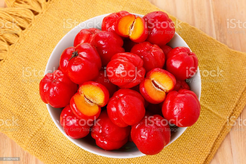 Malpighia glabra (red acerola), tropical fruit stock photo