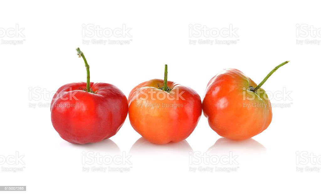 Malpighia glabra,Acerola fruit on white background stock photo