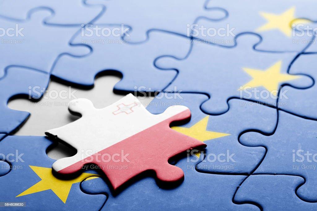 Malta. Exit from European Union concept puzzle stock photo