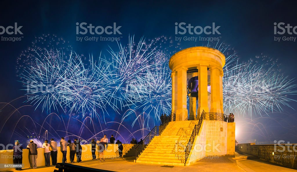 Malta Fireworks Festival at Valletta from Siege Bell War Memorial stock photo