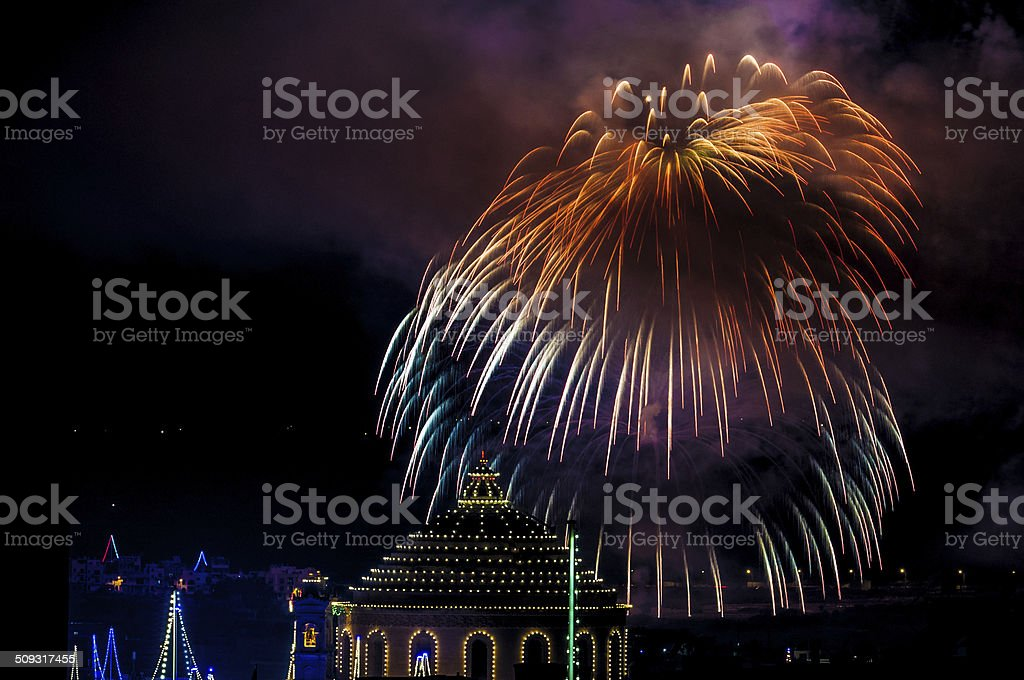 Malta Fireworks stock photo