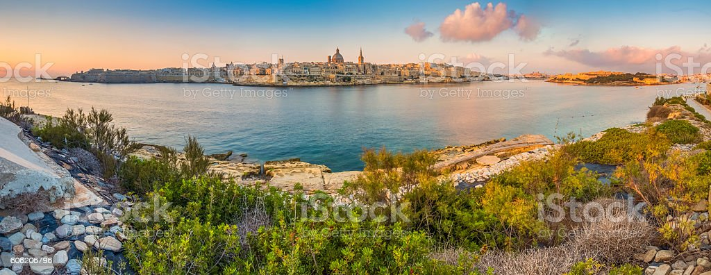 Malta - Panoramic skyline view of city of Valletta stock photo