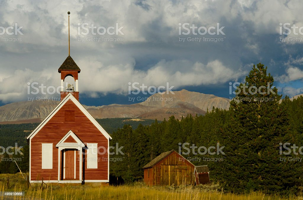 Malta Schoolhouse and Mosquito Mountain Range stock photo