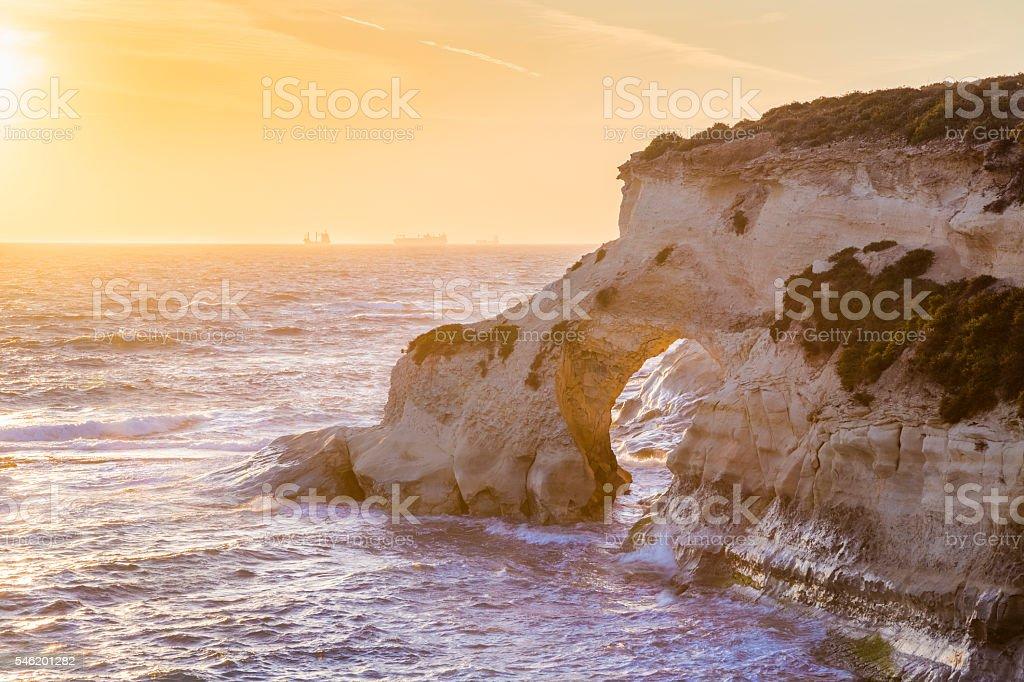 Malta sunrise at St.Thomas bay stock photo