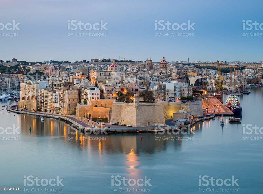 Malta - The island of Senglea and Gardjola Gardens stock photo