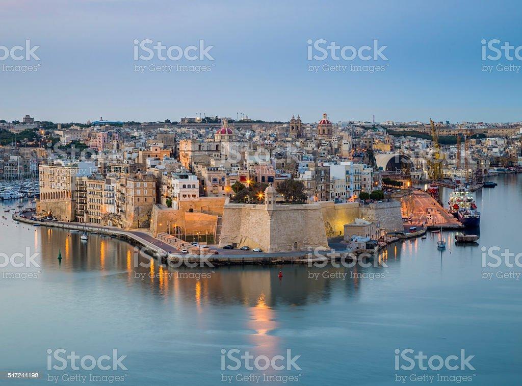 Malta - The island of Senglea and Gardjola Gardens stock photo