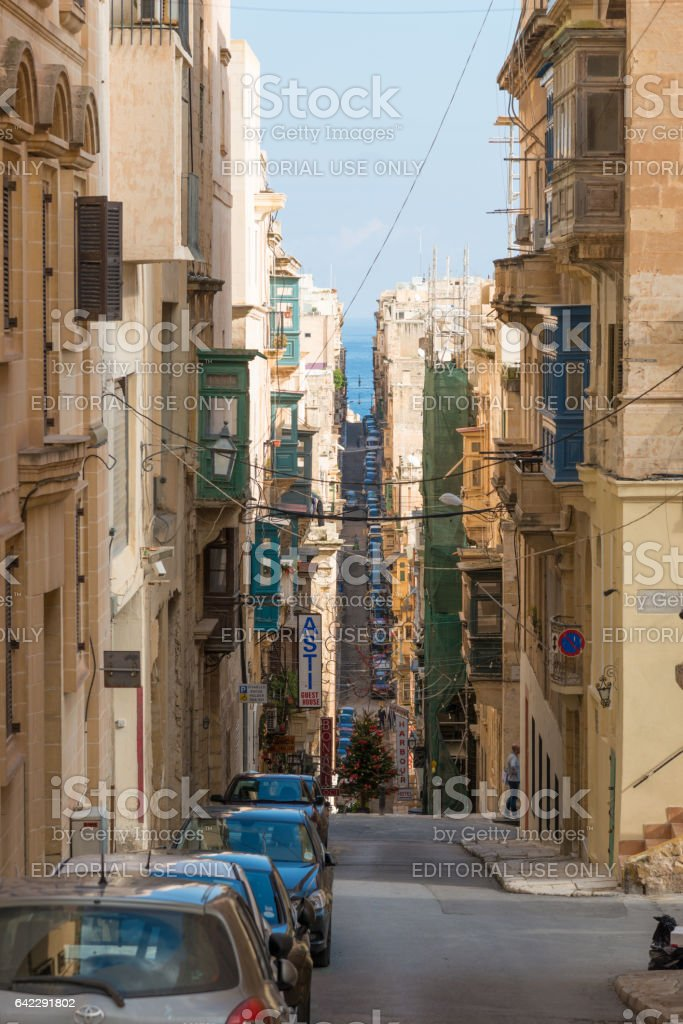 Malta Valetta - famous steeply rising streets stock photo