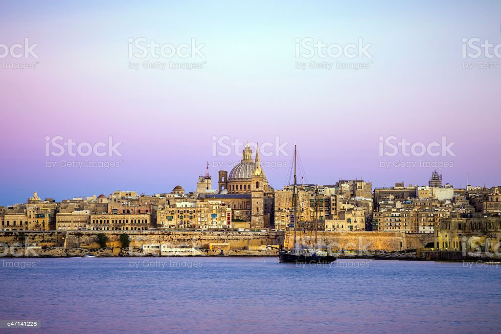 Malta - Valletta skyline with the St. Paul's Cathedral stock photo