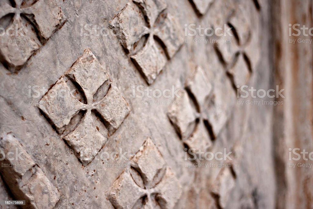 Maltese Crosses on Stone Marble, Close Up stock photo