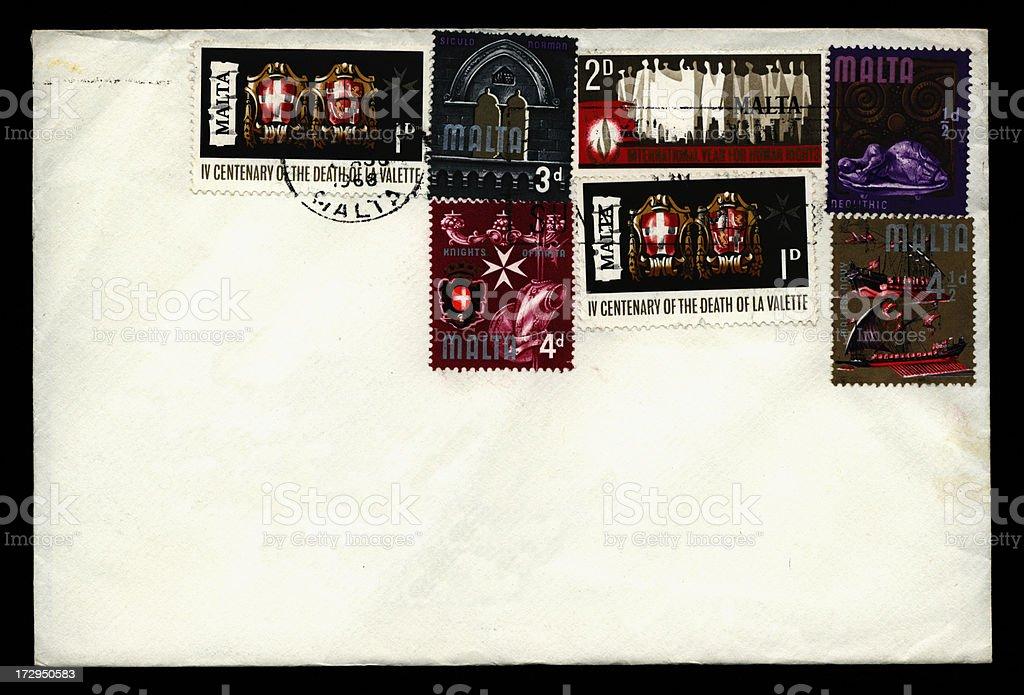 Maltese envelope 1968 stock photo
