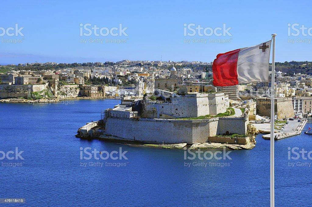 Maltese flag in Valletta stock photo
