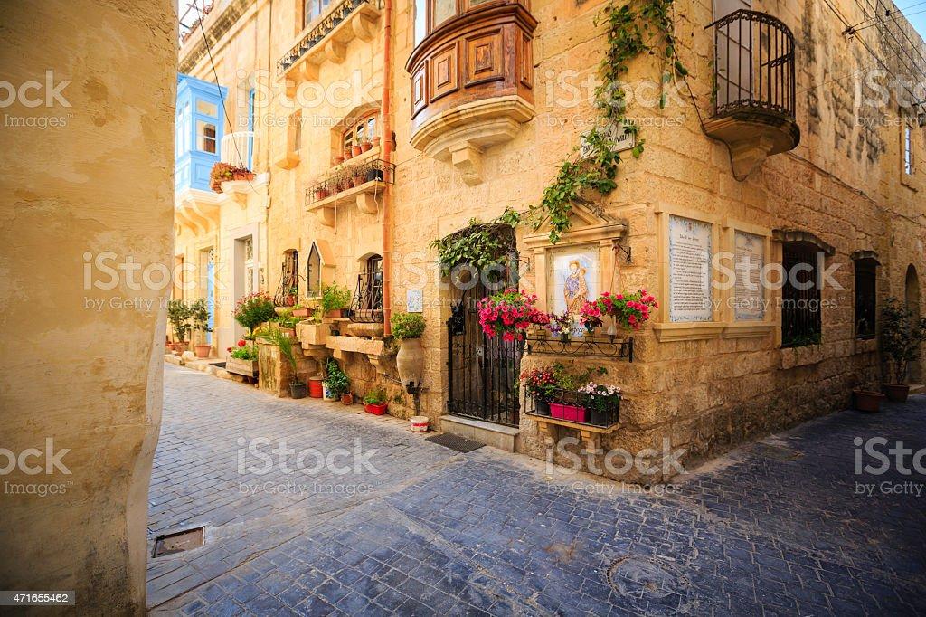 Maltese romantic alley stock photo